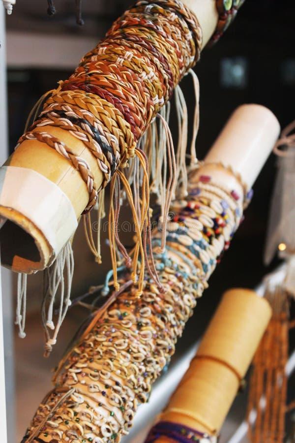 Wicker bracelets in the showcase stock photos