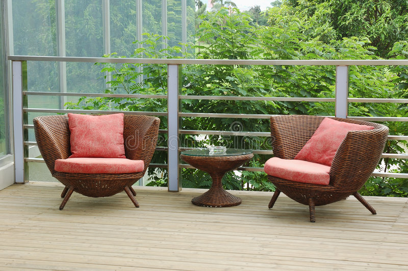 Wicker chairs stock images