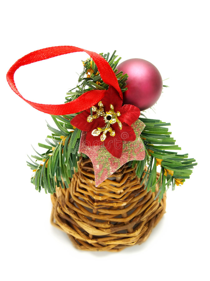 Wicker Christmas decoration with purple bauble