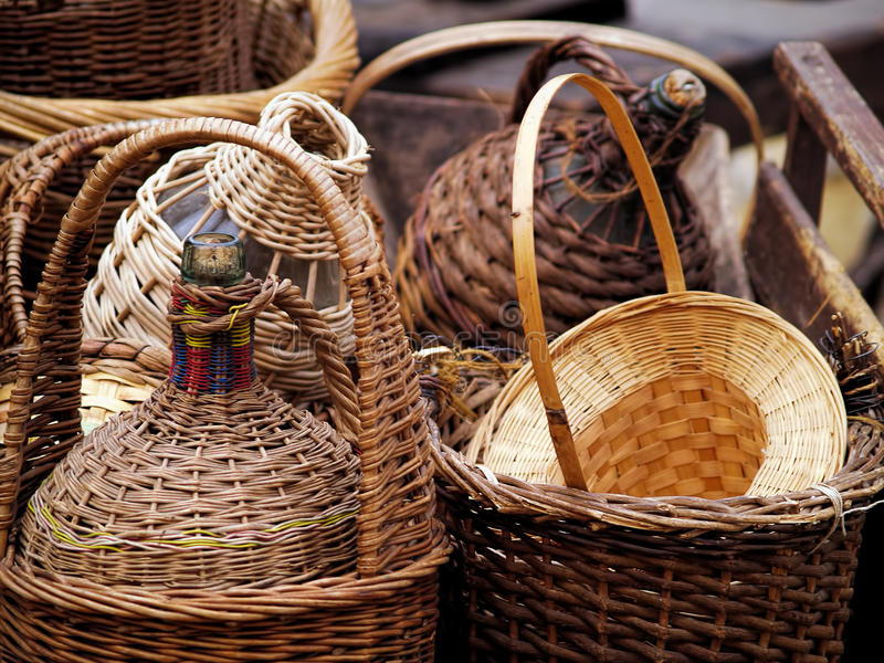 Download Wicker Covered Wine Bottles Stock Photo - Image: 37838040