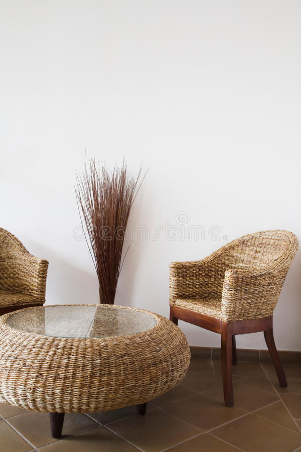 Wicker furniture stock images