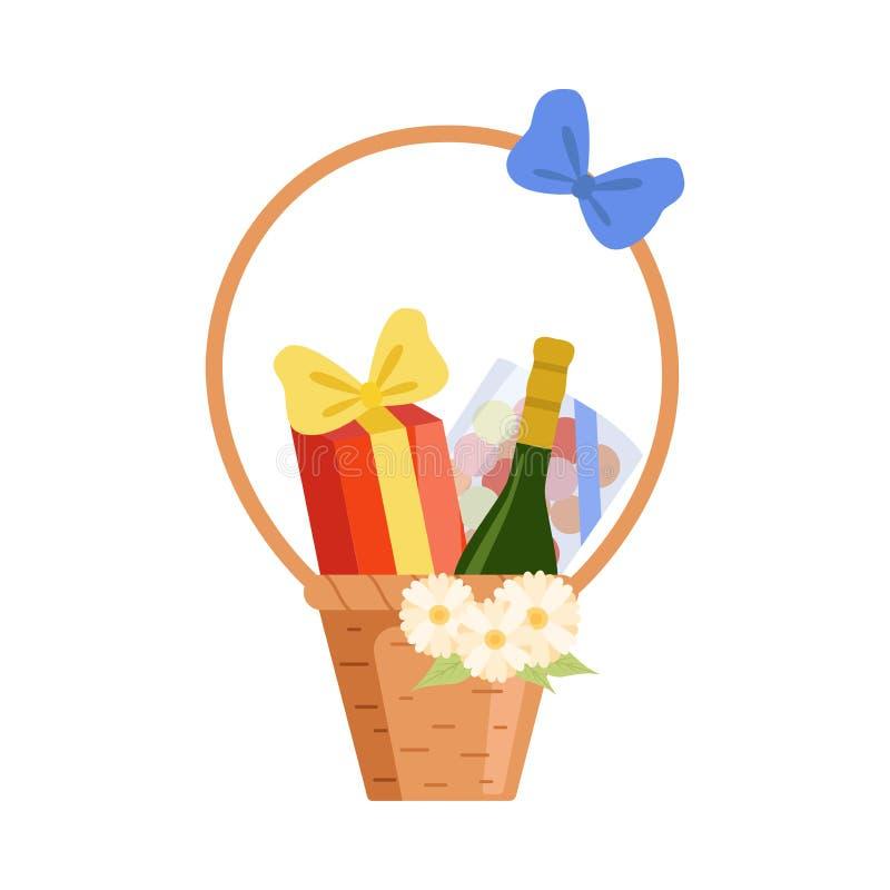 Wicker Holiday Present Basket Full of Gifts and Alcohol Bottle, Birthday, Xmas, Wedding, Anniversary Celebration Design. Element Vector Illustration on White royalty free illustration