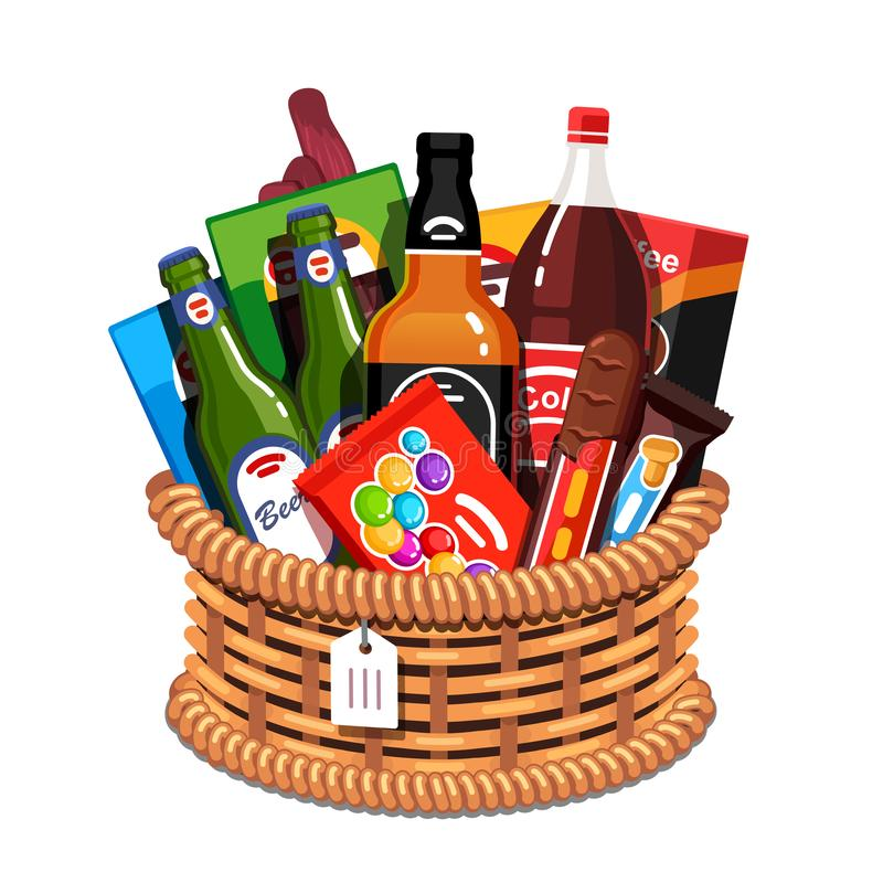 Wicker holiday present basket with gifts for man. Wicker holiday present basket full of gifts for man. Handmade retro wickerwork handle gift basket for males royalty free illustration