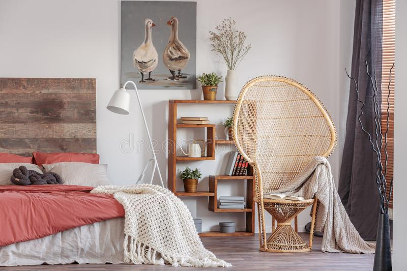 Wicker peacock chair with blanket in fashionable rustic bedroom with bookshelf and king size bed with bedhead. Wicker peacock chair with blanket in fashionable stock photography