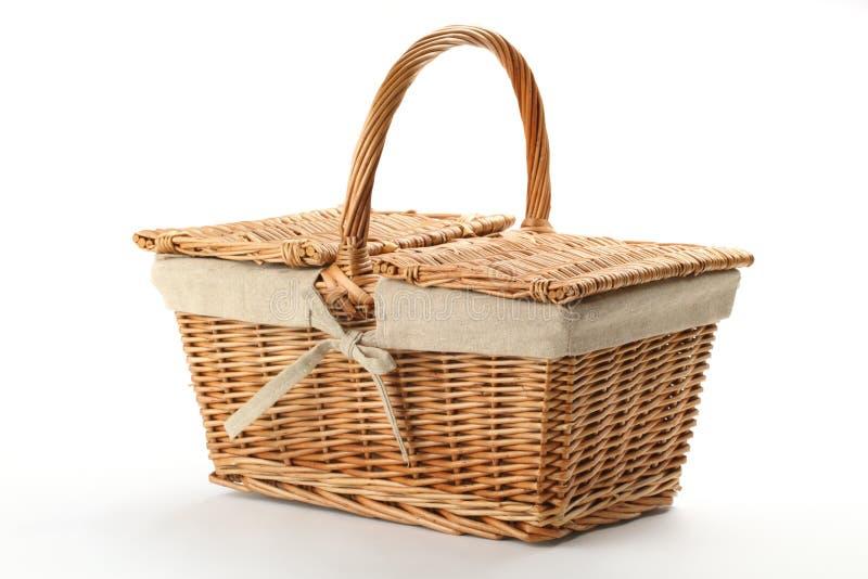 Wicker picnic basket stock image