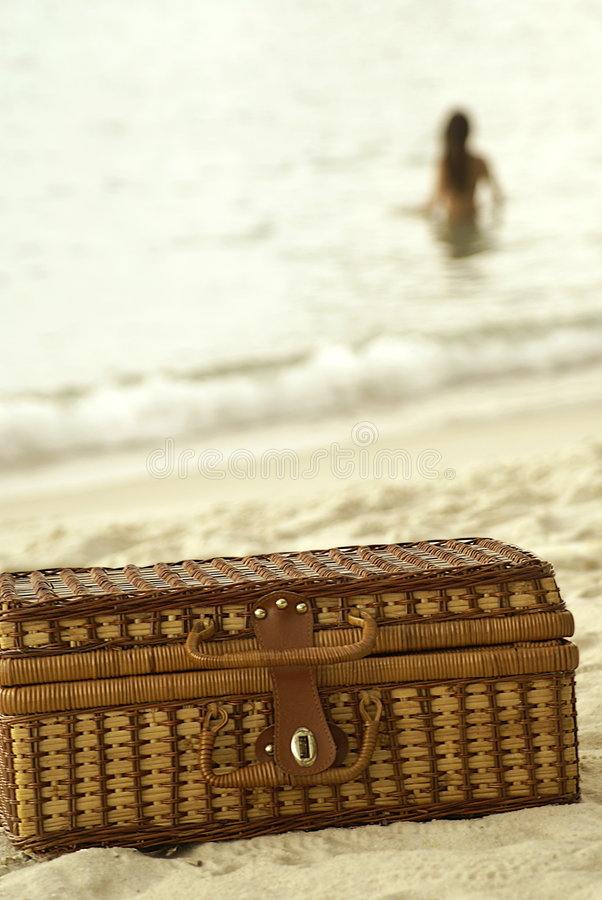 Free Wicker Suitcase And Lady In Water Royalty Free Stock Photo - 5032825