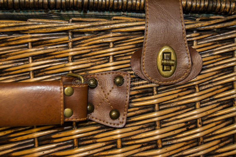 Wicker suitcase royalty free stock photography