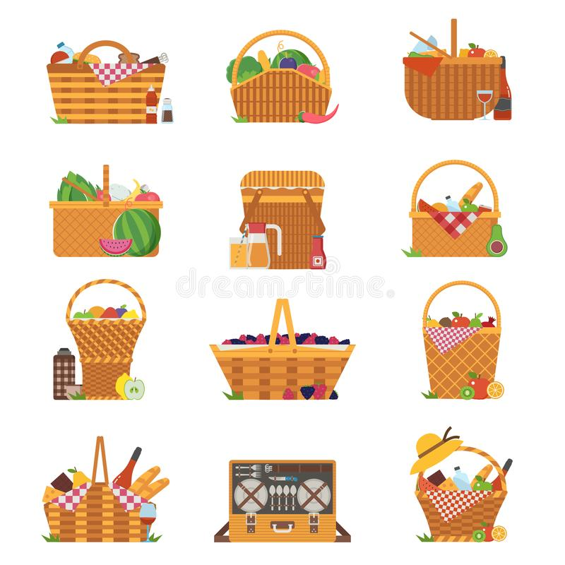 Wicker Picnic Baskets and Hampers Icons vector illustration