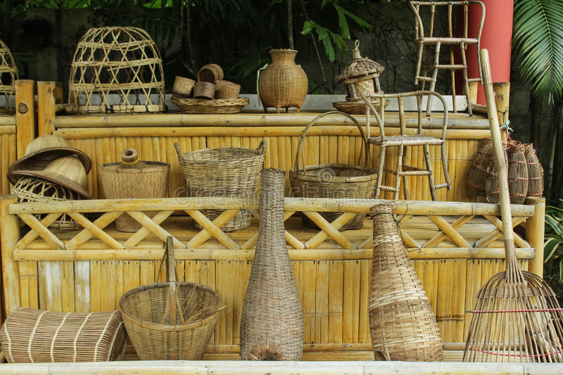 Wickerwork. Assorted items of wickerwork on a market stall royalty free stock photography