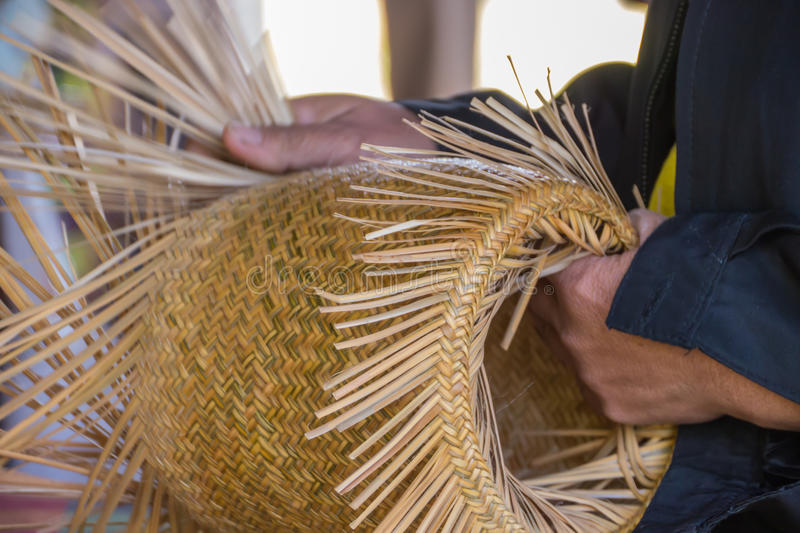 Wickerwork. Or Basketry, handmade by local Thai people royalty free stock photo
