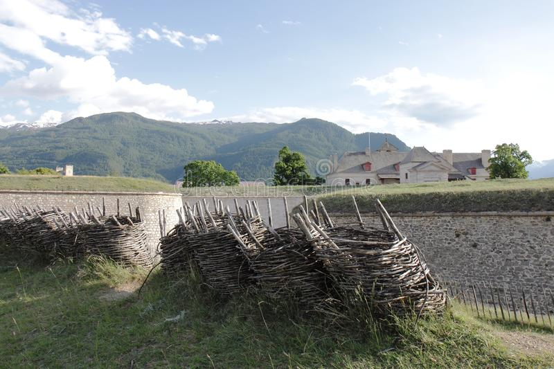 Wickerwork gabions near Fort of Mont-Dauphin, Hautes Alpes, France stock images