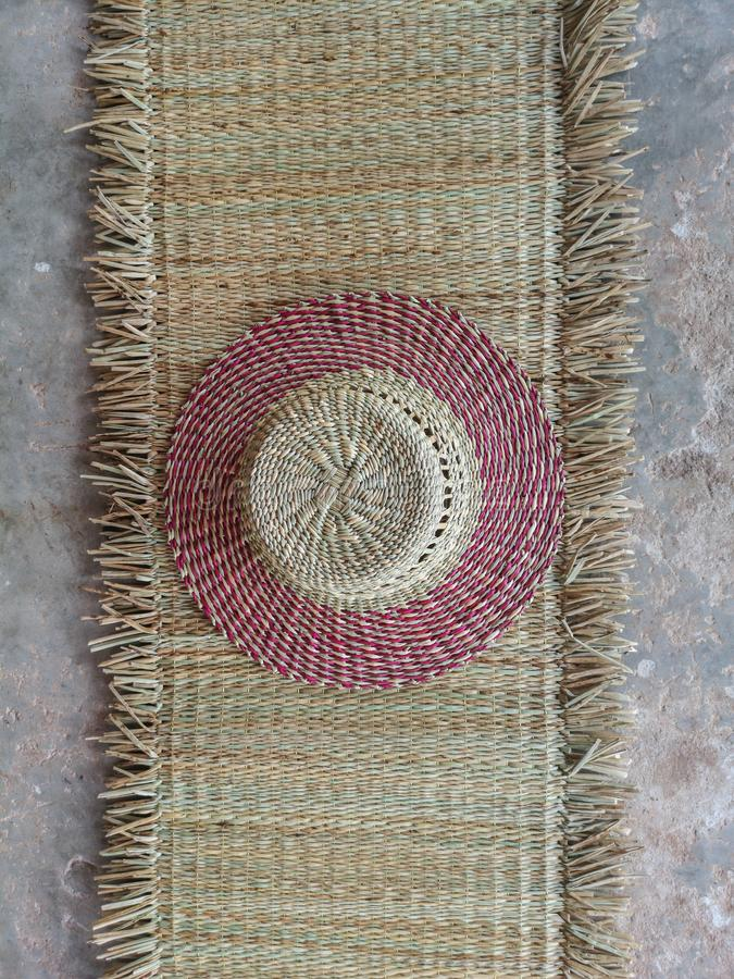 Wickerwork hat and mat texture made from dry sedge background.Closeup surface texture of hand made craft work. Craftmanship dried sedge royalty free stock image