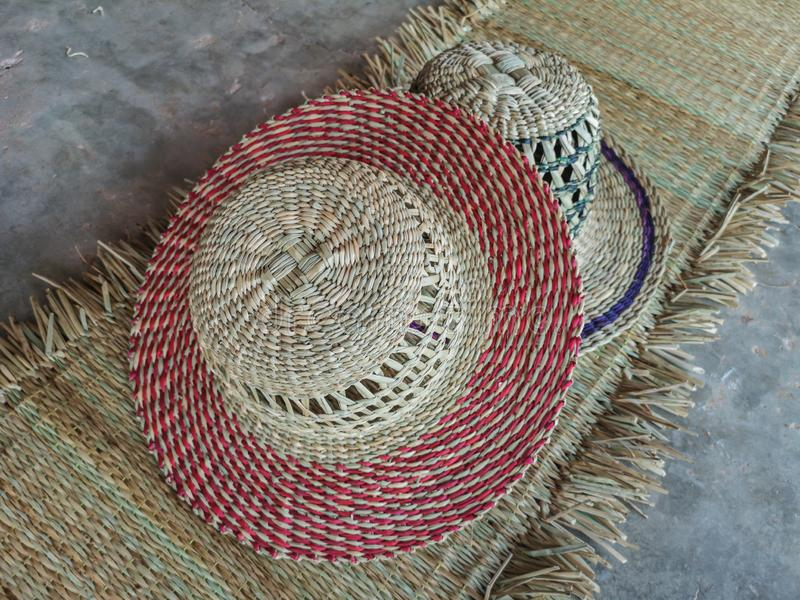 Wickerwork hat and mat texture made from dry sedge background.Closeup surface texture of hand made craft work. Craftmanship dried sedge stock images