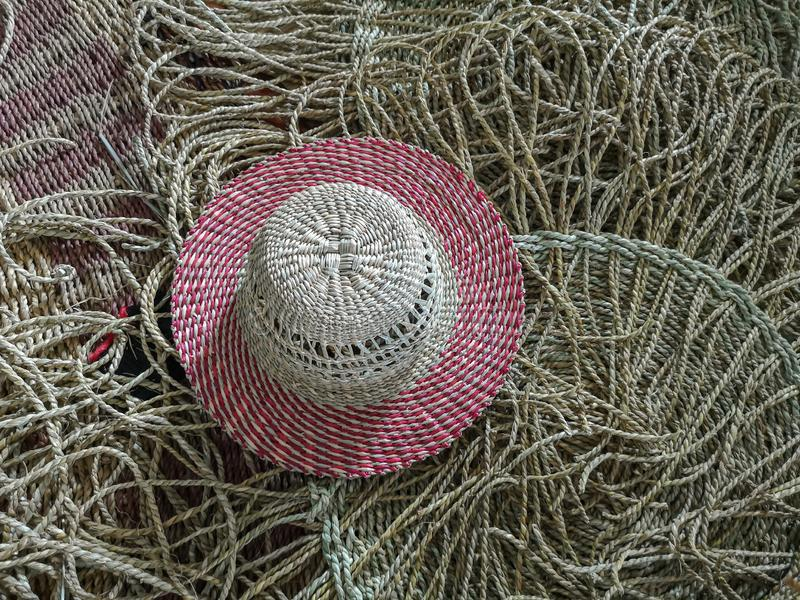 Wickerwork hat and mat texture made from dry sedge background.Closeup surface texture of hand made craft work. Craftmanship dried sedge stock photo
