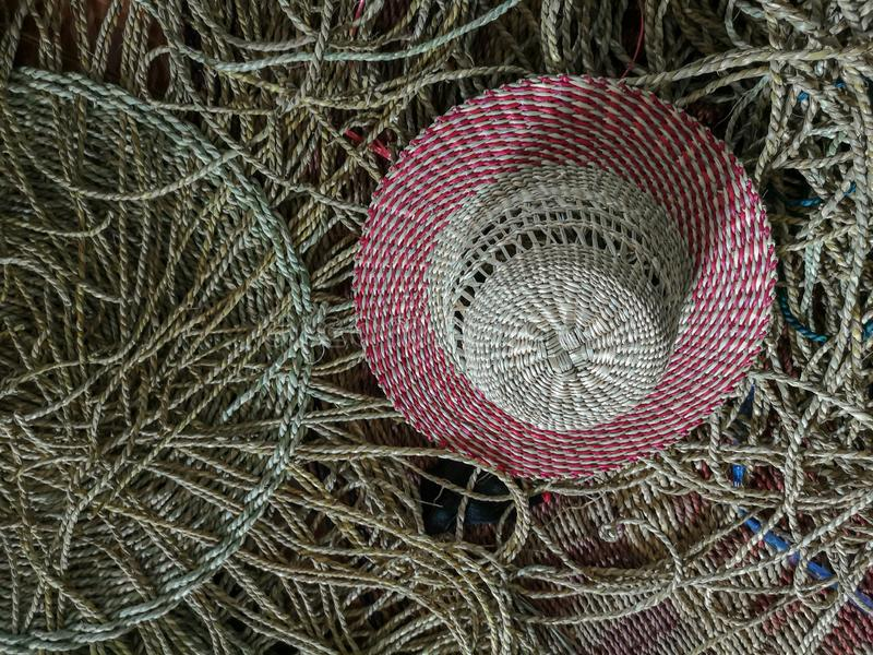 Wickerwork hat and mat texture made from dry sedge background.Closeup surface texture of hand made craft work. Craftmanship dried sedge royalty free stock images