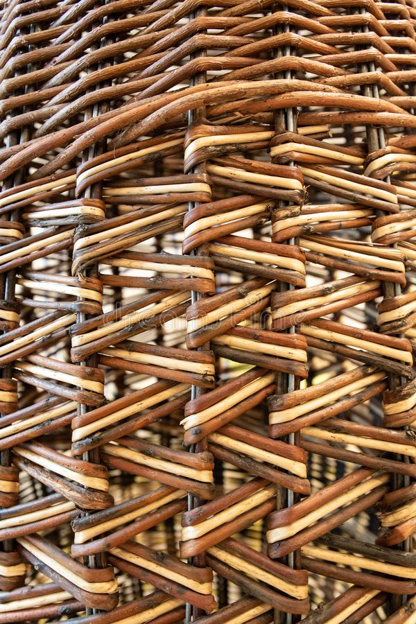 Wickerwork texture background. Antique wickerwork pattern used for basket. Close up stock photo