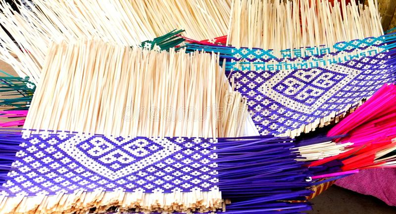 Wickerwork. Various patterns of native wickerwork mode by dyed bamboo stock photo