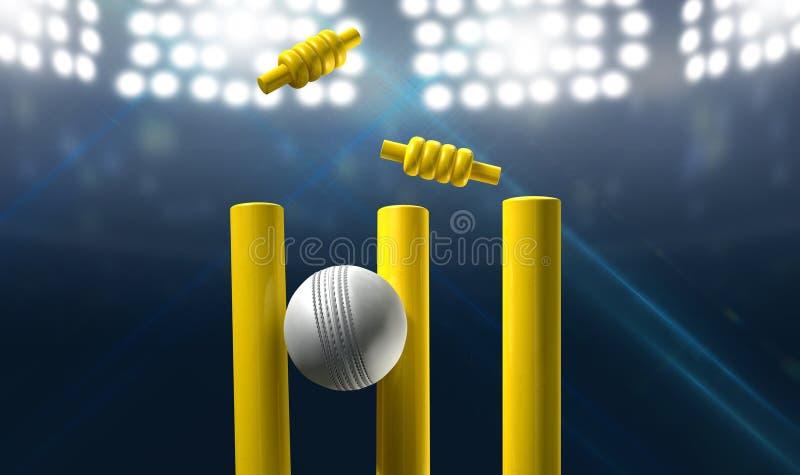 Wicket e bola do grilo em um estádio ilustração stock