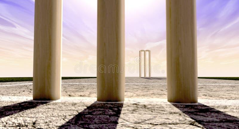 Wicket sull'orizzonte del passo entrambi del cricket diritto royalty illustrazione gratis