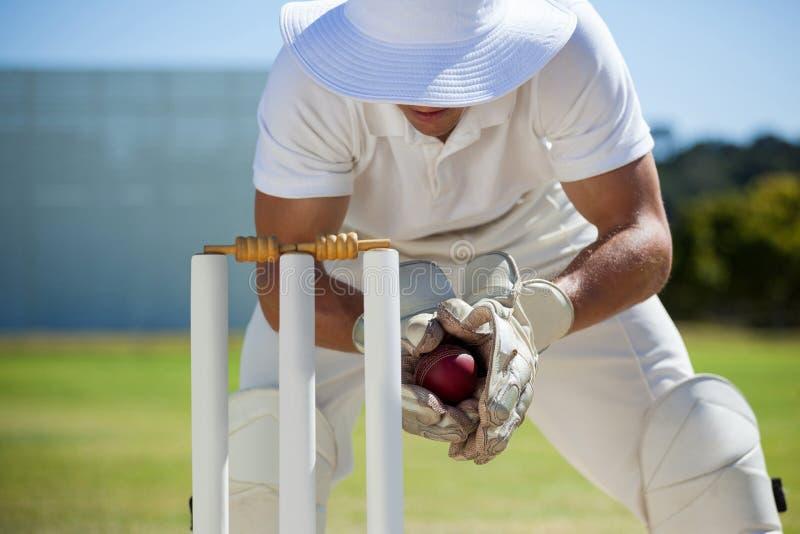Wicketkeeper som fångar bollen bak stubbar royaltyfria foton