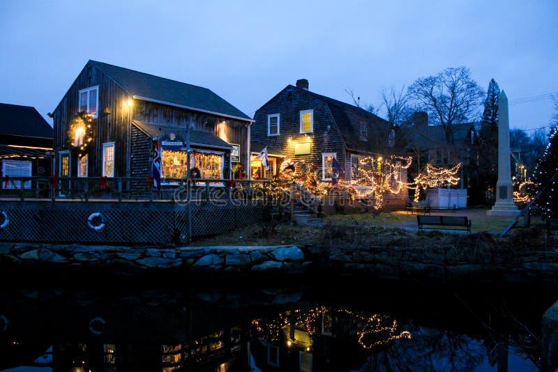 Wickford, Rhode Island Decorated voor de Kerstmisvakantie stock afbeeldingen