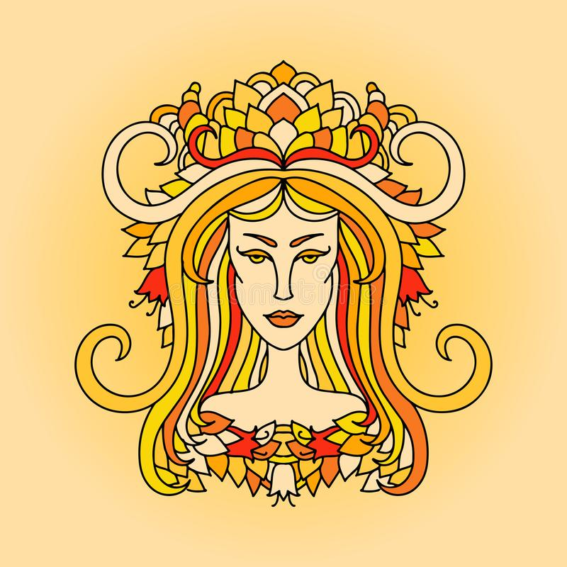 Widdermädchenporträt Sternzeichen des Feuers Einfache orange Vektorillustration lizenzfreie abbildung