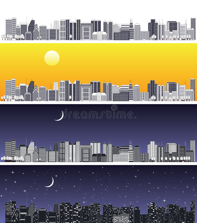 The wide abstract cityscape. The well-detailed cityscape was made for designing of an annual corporative report. Targeted for quality printing. Variants of sky vector illustration