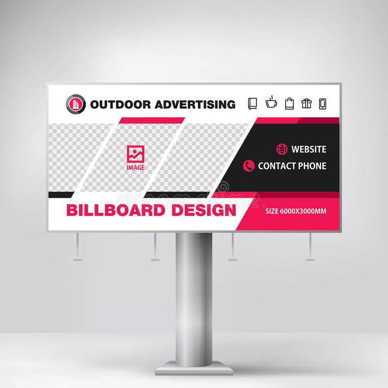 Billboard design, template for outdoor advertising, Modern business concept. Creative background. A wide advertising banner for placing along the roads, streets vector illustration