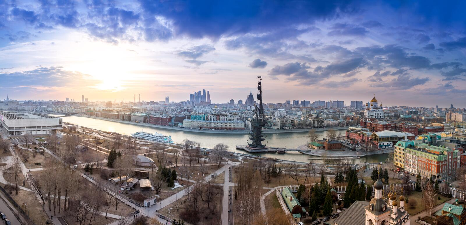 Wide angle aerial panorama of Moscow city center, Moscow River and monument to Peter I royalty free stock images