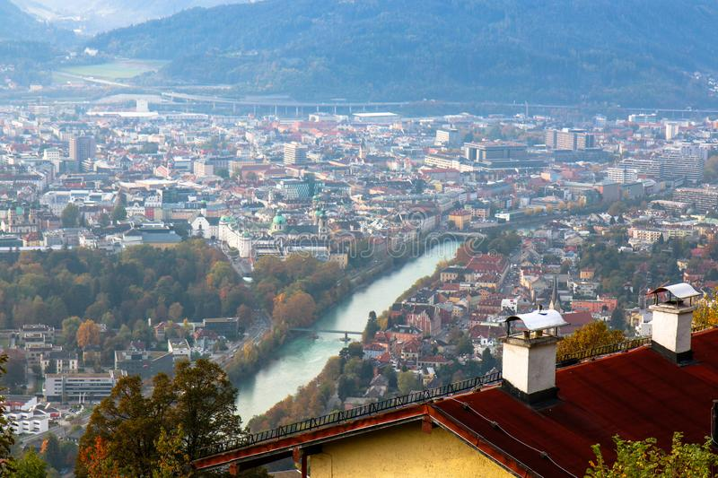 Ide angle aerial panorama of most popular Austrian city stock photos