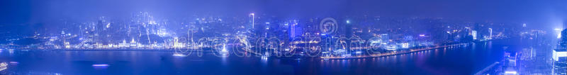 Download Wide Angle Aerial View Of Night Shanghai Bund Stock Illustration - Image: 28412638