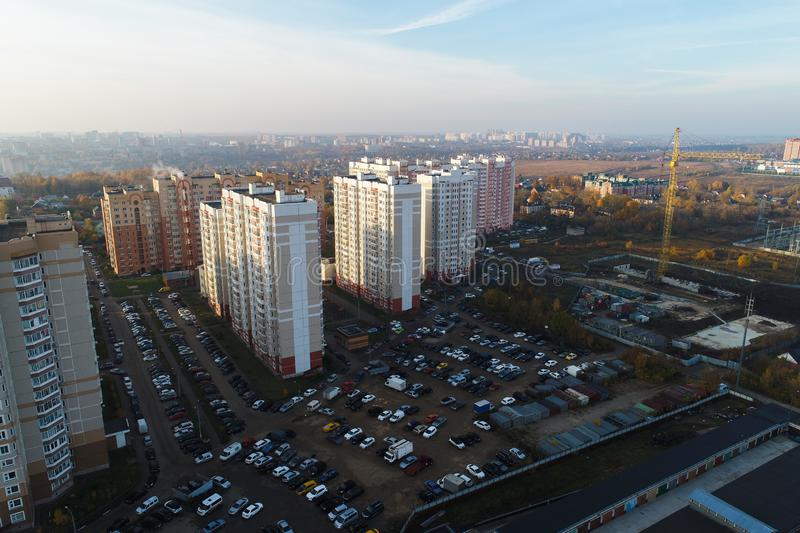 Wide angle aerial view of urban real estate stock images