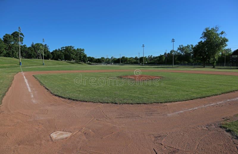 Wide-angle Baseball Field stock photography