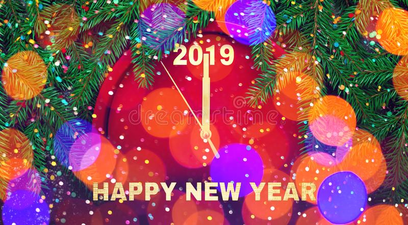 Wide Angle Colorful Greeting card Happy New Year 2019 royalty free stock image