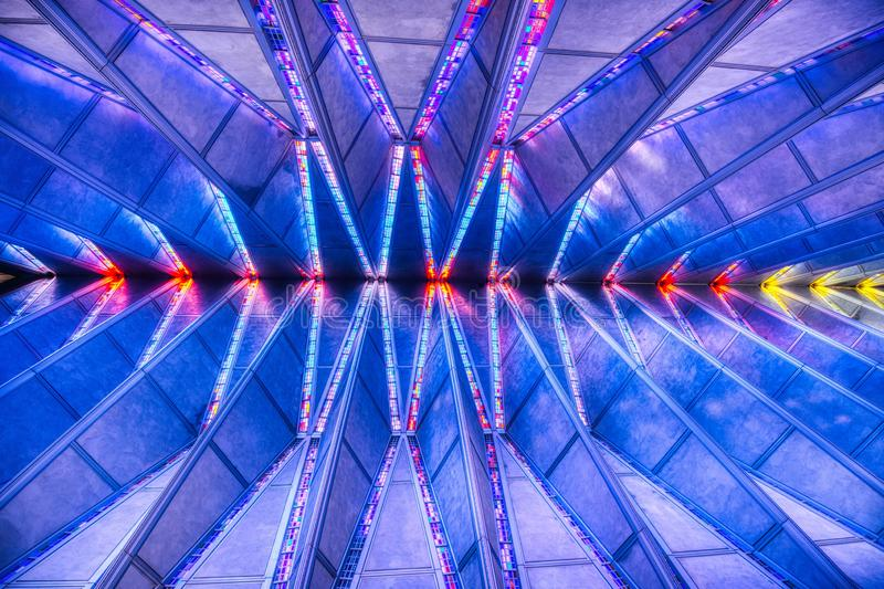 A Wide Angle Geometric Image of the Chapel Ceiling of the Air Force Academy. An amazing wide-angle photo looking up at the ceeiling of the Chapel at the Air royalty free stock photos