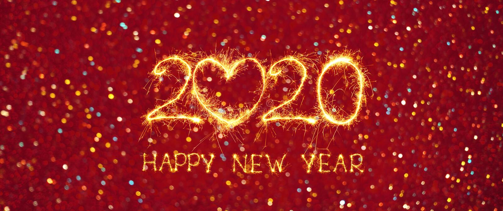 Wide Angle Greeting card Happy New Year 2020 royalty free stock photography