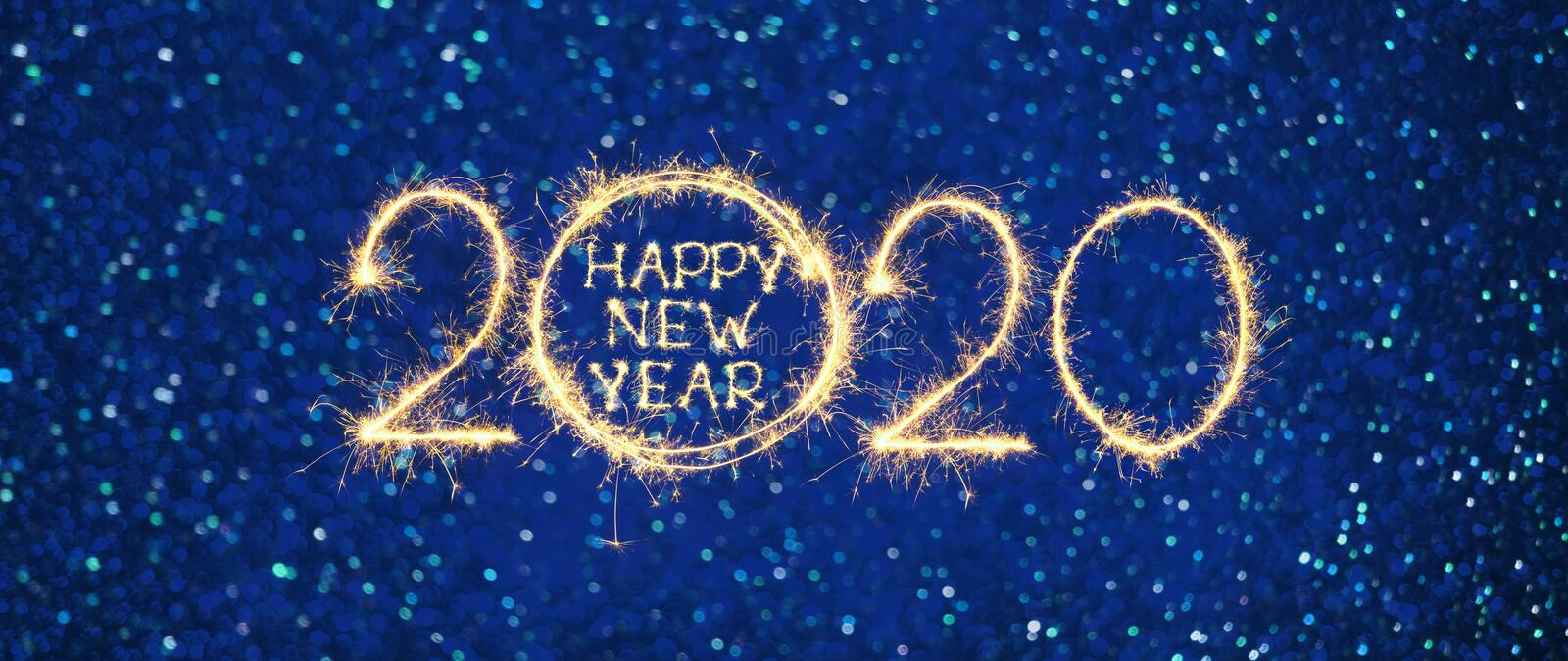 Wide Angle Greeting card Happy New Year 2020 stock photos