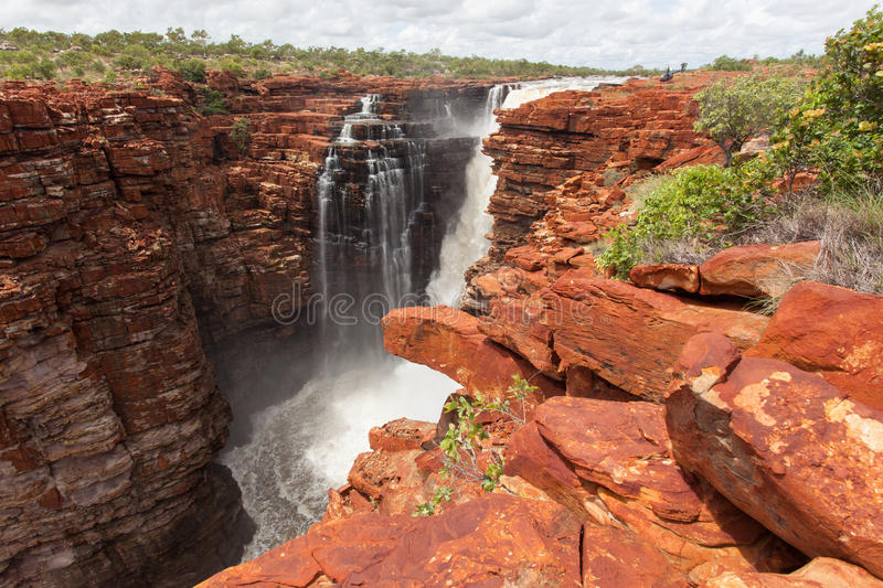 Wide angle image of the Easternmost falls on the King George River. The Kimberley Region in Western Australia is visited by thousands tourists every year for its stock photos