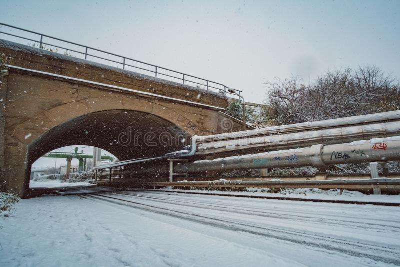 Wide angle industrial winter landscape stock photography