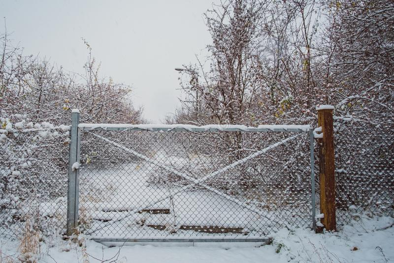 Wide angle industrial winter landscape stock images