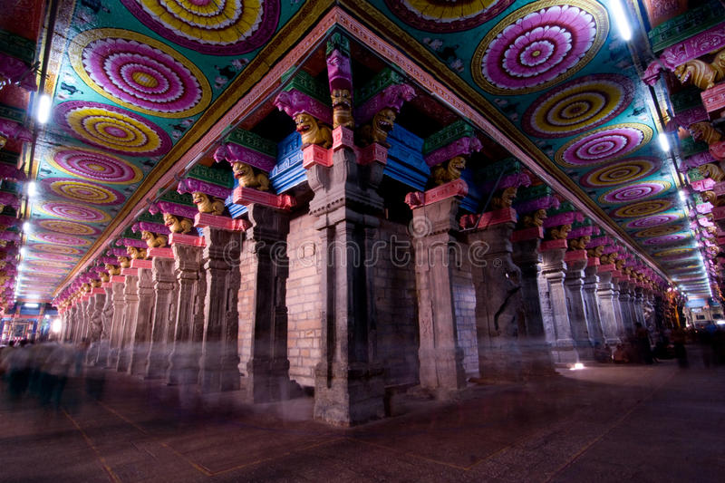 Wide angle from inside the meenakshi temple in madurai india, with colorful ceiling and columns stock images