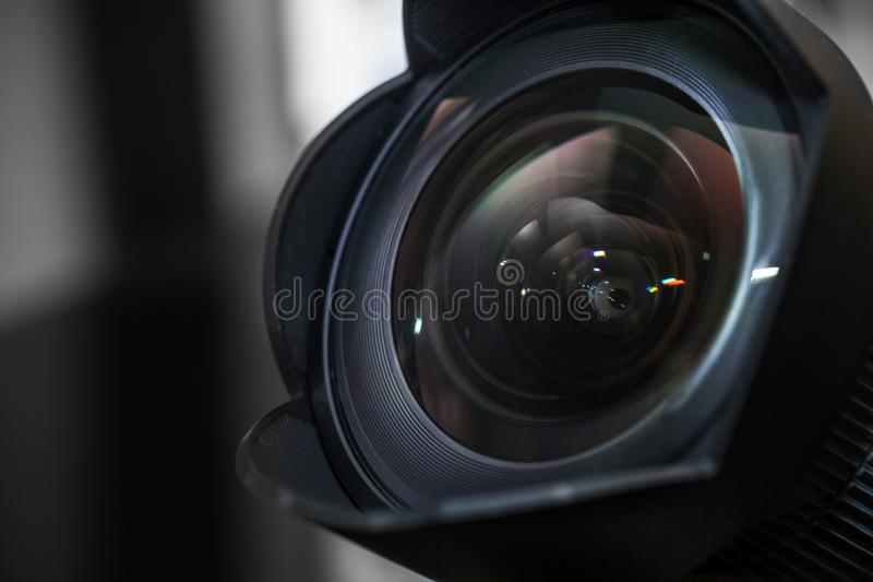Wide angle lens with lens hood, shade royalty free stock photo