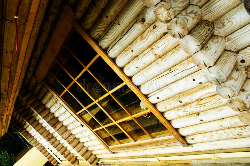 Download Wide angle of log house stock photo. Image of jutting - 3397930