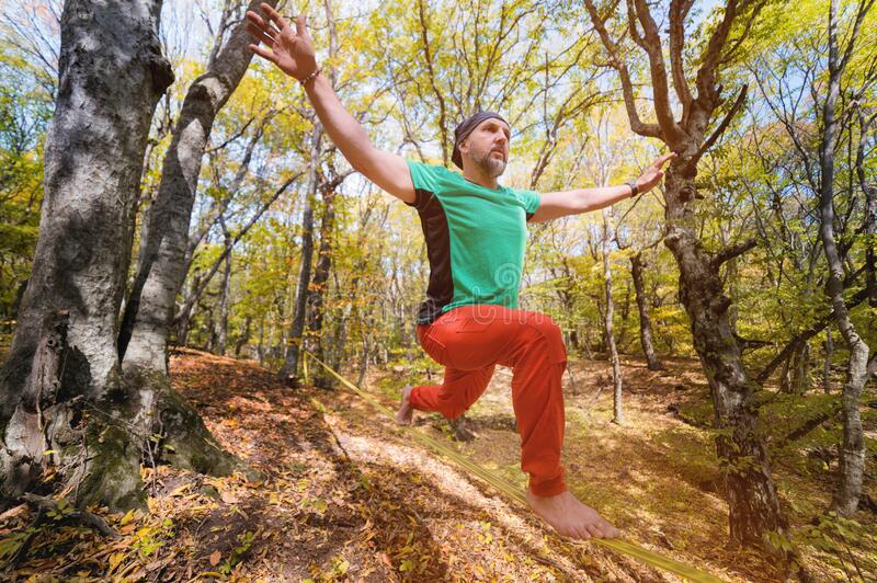 Wide angle male tightrope yogi balances on one leg in heron pose barefoot on slackline in autumn forest. The concept of. Wide angle male tightrope walker yogi stock photos