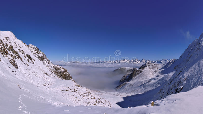 Wide angle mountain panorama stock images