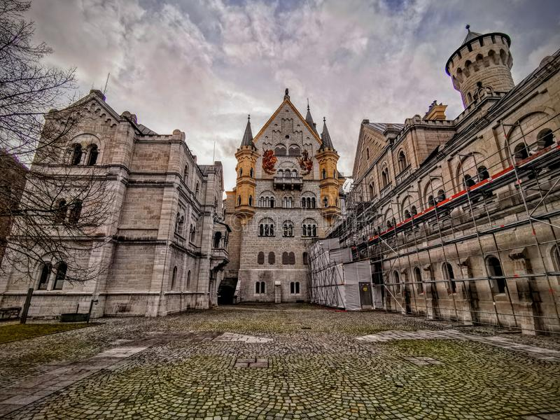 Wide angle of Neuschwanstein central tower royalty free stock images