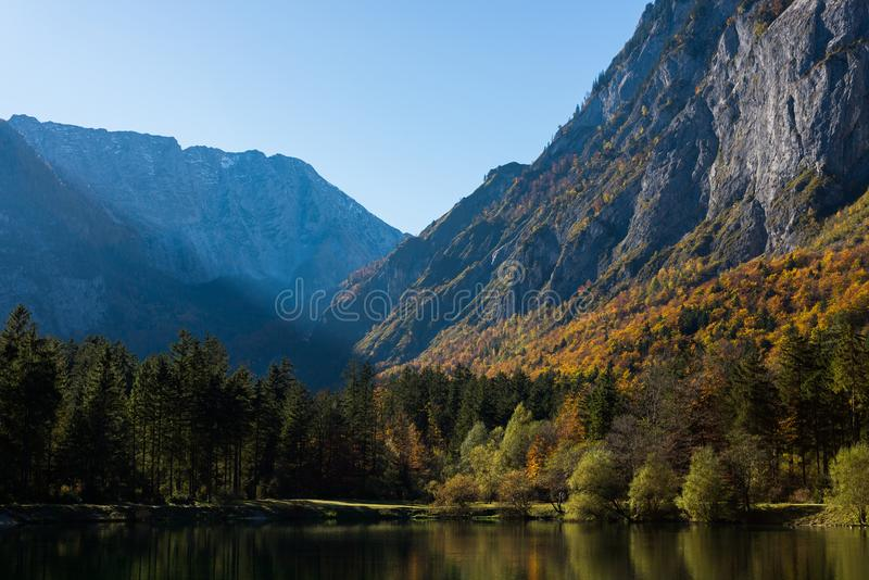 Wideangle lake in the mountains royalty free stock photography