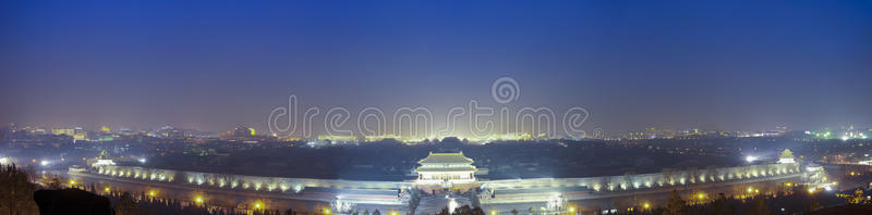 Wide Angle Night View Of The Forbidden City Royalty Free Stock Photography