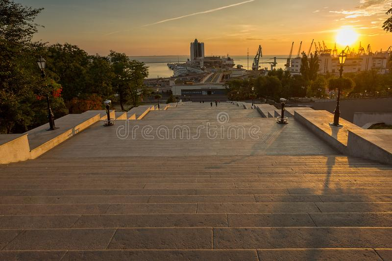 Odessa city travel view from the Potemkin stairs. Wide angle of the Odessa city travel view from the Potemkin stairs and the sea port on the background. Nice royalty free stock photography
