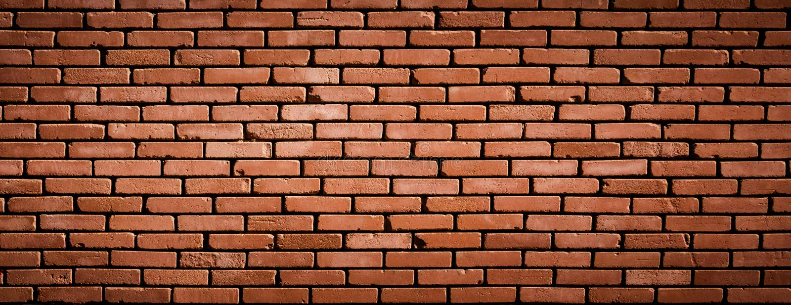 Wide Angle Old Red Brick Wall Background royalty free stock image
